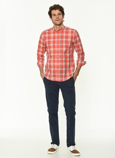 George Hogg George Hogg Düğmeli Yaka Uzun Kollu Slim Fit Nar Çiçeği Erkek Pamuk Gömlek Kırmızı